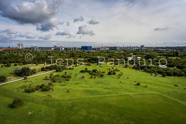 Islands Brygge, DR Byen og Bella Sky set fra drone opsat fra Amager Modelflyveplads. Foto: Jens Panduro