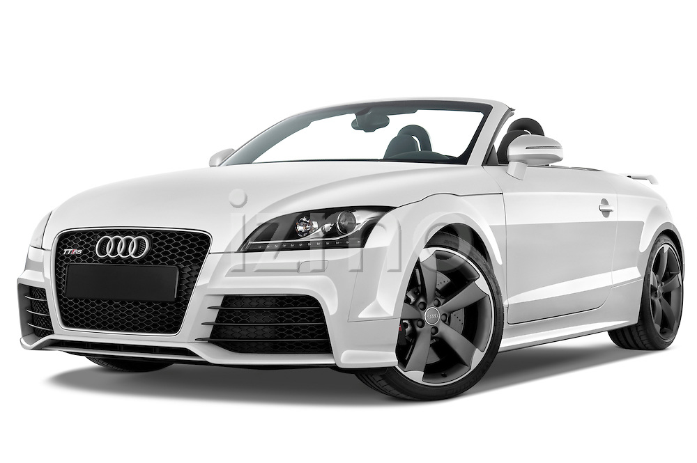 Low aggressive front three quarter view of a 2010 - 2014 Audi TT RS Convertible.