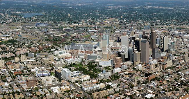 Denver skyline aerial. July 2014.