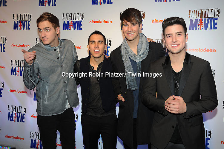 "Big Time Rush""s Kendal Schmidt, Carlos Pena, Jr,  James Maslow and Logan Henderson attend The movie premiere of "" Big Time Movie"" starring .Big Time Rush of Nickelodeon on March 8, 2012 at 583 Park Avenue in New York City."