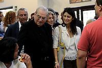 Roma, 15 Agosto 2016<br /> Mons Enrico Feroci, direttore della Caritas e la sindaca di Roma Virginia Raggi, visitano a Ferragosto la mensa Caritas<br /> Pranzo alla mensa Caritas di Colle Oppio