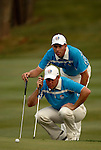 European Team players Lee Westwood and Soren Hansen line up their putts putt on the 16th green during the Afternoon Fourball on Day 2 of the Ryder Cup at Valhalla Golf Club, Louisville, Kentucky, USA, 20th September 2008 (Photo by Eoin Clarke/GOLFFILE)