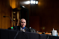 """United States Senator Thom Tillis (Republican of North Carolina) speaks at a US Senate Judiciary Committee Hearing """"to examine COVID-19 fraud, focusing on law enforcement's response to those exploiting the pandemic"""" on Capitol Hill in Washington, DC on June 9, 2020. <br /> Credit: Erin Schaff / Pool via CNP/AdMedia"""