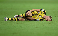 FUSSBALL  DFB POKAL FINALE  SAISON 2015/2016 in Berlin FC Bayern Muenchen - Borussia Dortmund         21.05.2016 Erik Durm (Borussia Dortmund) am Boden