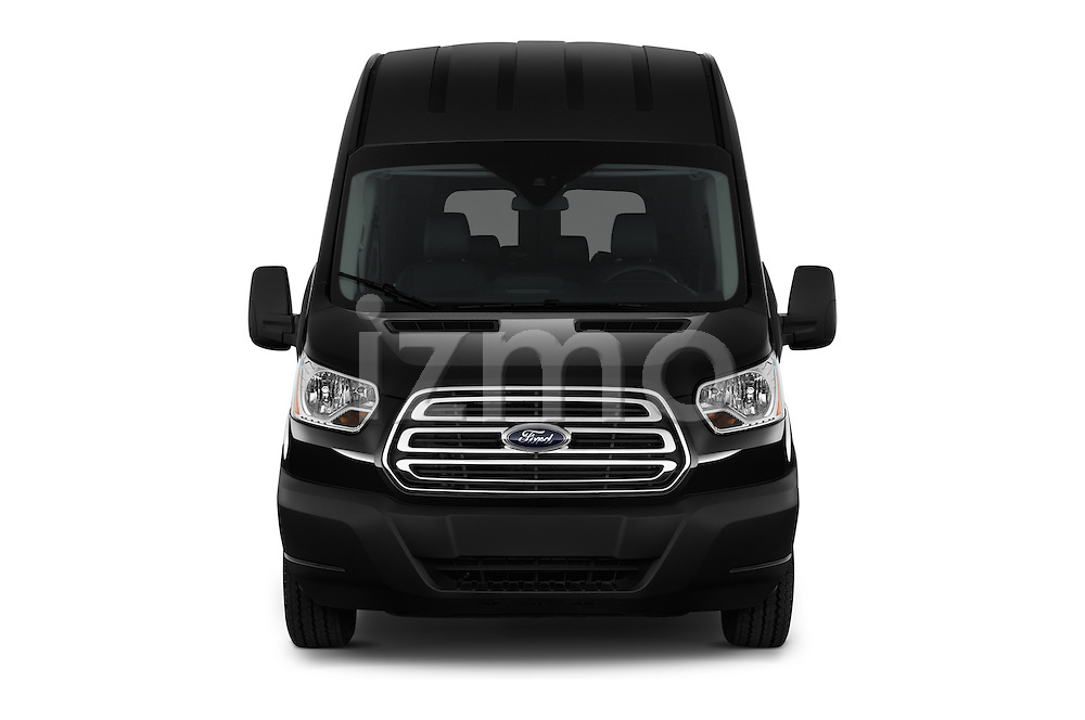 Car photography straight front view of a 2016 Ford Transit 350-XLT-Wagon-High-Roof-Pass-Slide-148WB 4 Door Passenger Van Front View