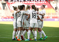 Lea Schueller 1:0 2:0 3:0, Mannschftscelebration   celebration   3:0 <br /> /   World Championships Qualifiers women women /  2017/2018 / 07.04.2018 / DFB National Team / GER Germany vs. Czech Republic CZE 180407024 / <br />  *** Local Caption *** © pixathlon<br /> Contact: +49-40-22 63 02 60 , info@pixathlon.de