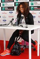 La statunitense Serena Williams tiene una conferenza stampa in occasione della sua partecipazione agli Internazionali d'Italia di tennis a Roma, 13 Maggio 2013..U.S. Serena Williams attends a press conference in occasion of the Italian Open Tennis WTA tournament in Rome, 13 May 2013.UPDATE IMAGES PRESS/Isabella Bonotto