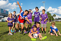 Orlando, Florida - Saturday, April 23, 2016: Young Orlando Pride fans enjoy their pre-game activities prior to an NWSL match between Orlando Pride and Houston Dash at the Orlando Citrus Bowl.