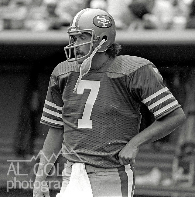 San Francisco 49ers vs. New England Patriots at Candlestick Park Sunday, August 14, 1983..Pre-season Game..San Francisco 49er Quarter Back Guy Benjamin (7)...