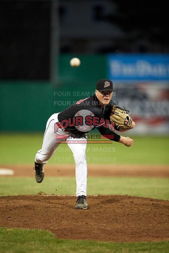 Batavia Muckdogs relief pitcher Tanner Andrews (34) delivers a pitch during a game against the State College Spikes on July 7, 2018 at Dwyer Stadium in Batavia, New York.  State College defeated Batavia 7-4.  (Mike Janes/Four Seam Images)