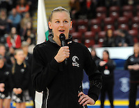 08.02.2017 Silver Ferns Katrina Grant in action during the Wales v Silver Ferns netball test match at Swansea University at Ice Arena Wales. Mandatory Photo Credit ©Ian Cook/Michael Bradley Photography.