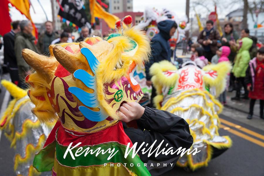 Lion Dance, Chinese New Year 2016, Chinatown, Seattle, WA, USA.