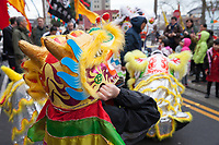 Lion Dance, Chinese New Year 2016, Chinatown, Seattle, WA, USA.
