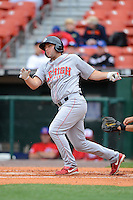 Lehigh Valley IronPigs first baseman Cody Overbeck #11 during the first game of a double header against the Buffalo Bisons on June 7, 2013 at Coca-Cola Field in Buffalo, New York.  Buffalo defeated Lehigh Valley 4-3.  (Mike Janes/Four Seam Images)