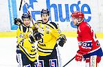 Huddinge 2015-09-20 Ishockey Division 1 Huddinge Hockey - S&ouml;dert&auml;lje SK :  <br /> S&ouml;dert&auml;ljes Anton Holm firar sitt 5-2 m&aring;l med Henrik Nyberg under matchen mellan Huddinge Hockey och S&ouml;dert&auml;lje SK <br /> (Foto: Kenta J&ouml;nsson) Nyckelord:  Ishockey Hockey Division 1 Hockeyettan Bj&ouml;rk&auml;ngshallen Huddinge S&ouml;dert&auml;lje SK SSK jubel gl&auml;dje lycka glad happy