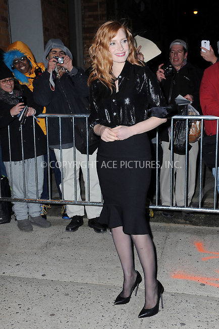 WWW.ACEPIXS.COM<br /> November 19, 2014 New York City<br /> <br /> Jessica Chastain arrives to tape an appearance on the The Daily Show with Jon Stewart on  November 19, 2014 in New York City.<br /> <br /> Please byline: Kristin Callahan/AcePictures<br /> <br /> ACEPIXS.COM<br /> <br /> Tel: (212) 243 8787 or (646) 769 0430<br /> e-mail: info@acepixs.com<br /> web: http://www.acepixs.com