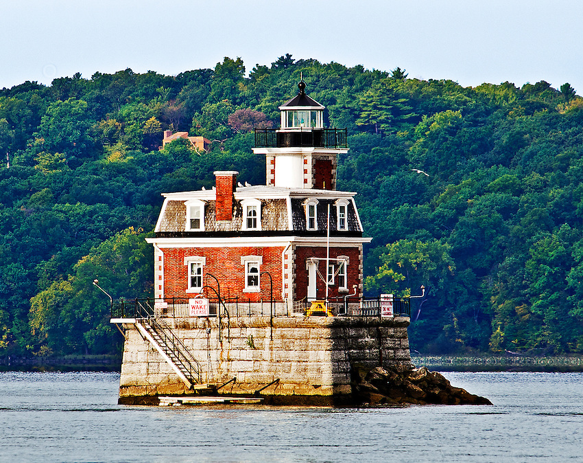 The Hudson-Athens Lighthouse, located in the middle of the Hudson River between Hudson and Athens, New York. This photo was featured in an article on Great American Lighthouses in the online edition of Architectural Digest. See http://www.architecturaldigest.com/gallery/american-lighthouses-slideshow#11.