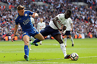 Harvey Barnes of Leicester City and Davinson Sánchez of Tottenham Hotspur during Tottenham Hotspur vs Leicester City, Premier League Football at Wembley Stadium on 13th May 2018