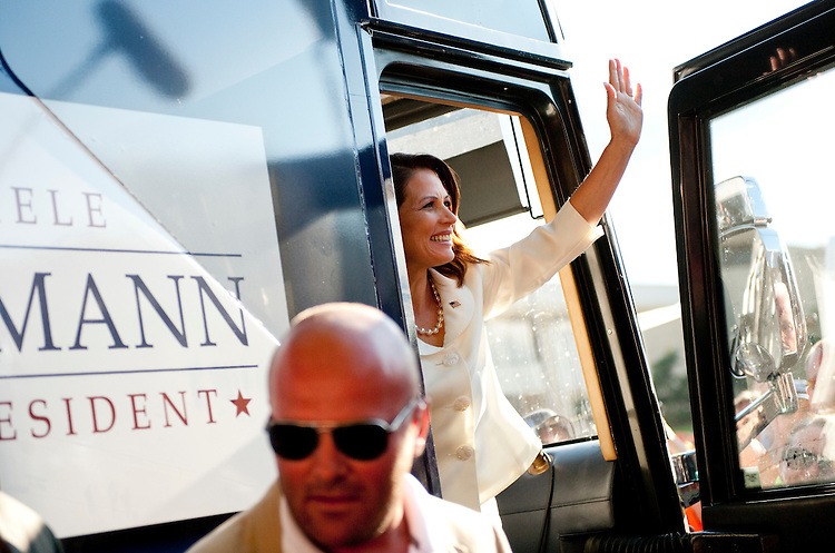 UNITED STATES - AUGUST 13:  Republican presidential candidate Michele Bachmann, addresses supporters and the media after she won the Ames Straw Poll at Iowa State University in Ames, Iowa.  (Photo By Tom Williams/Roll Call)