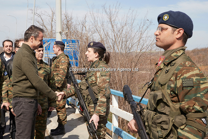Pictured: Kyriakos Mitsotakis meets with army personnel in the Evros area, Greece. Tuesday 03 March 2020<br /> Re: Greek Prime Minister Kyriakos Mitsotakis has met with members of the emergency services and army personnel at the Evros area, Greece