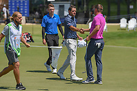 Sam Saunders (USA) shakes hands with Keith Mitchell (USA) following round 1 of the AT&T Byron Nelson, Trinity Forest Golf Club, at Dallas, Texas, USA. 5/17/2018.<br /> Picture: Golffile | Ken Murray<br /> <br /> <br /> All photo usage must carry mandatory copyright credit (© Golffile | Ken Murray)