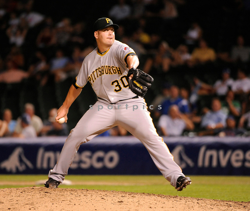 CHRIS RESOP, of the Pittsburgh Pirates, in action  during the Pirates game against the Chicago Cubs on August 31, 2010 at Wrigley Field in Chicago, IL...Pirates won 14-17..