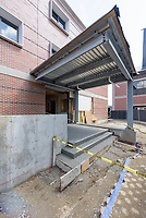 Major Renovation Litchfield Hall WCSU Danbury CT<br /> Connecticut State Project No: CF-RD-275<br /> Architect: OakPark Architects LLC  Contractor: Nosal Builders<br /> James R Anderson Photography New Haven CT photog.com<br /> Date of Photograph: 28 April 2017<br /> Camera View: 06 - West Elevation, South Entrance - Vertical Image