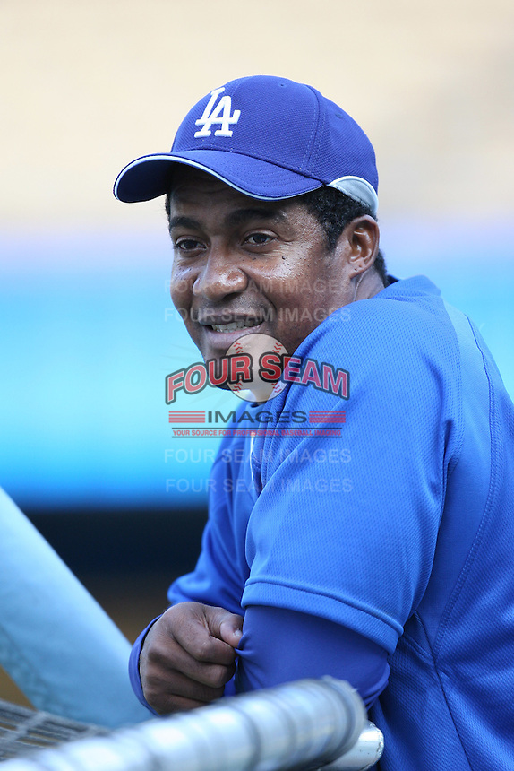 Los Angeles Dodgers Coach Mariano Duncan during batting practice before a 2007 MLB season game at Dodger Stadium in Los Angeles, California. (Larry Goren/Four Seam Images)