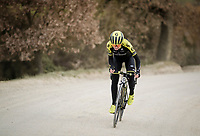 Annemiek Van Vleuten (NED/Mitchelton-Scott) charging up the gravel<br /> <br /> race reconnaissance 1 day prior to the 13th Strade Bianche 2019 (1.UWT)<br /> <br /> ©kramon