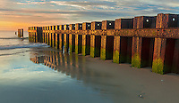 Cape Hatteras National Seashore, North Carolina<br /> Morning light on a rusting retaining wall