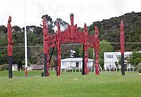 Te Kiriti Maori Totems, Waitangi, Paihia, north island, New Zealand.