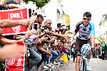 Romain Bardet (FRA) AG2R La Mondiale arrives at sign on before the start of Stage 10 of the 104th edition of the Tour de France 2017, running 178km from Perigueux to Bergerac, France. 11th July 2017.<br /> Picture: ASO/Alex Broadway | Cyclefile<br /> <br /> <br /> All photos usage must carry mandatory copyright credit (&copy; Cyclefile | ASO/Alex Broadway)