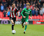 Chris Basham of Sheffield Utd and Alan Browne of Preston North End during the championship match at the Bramall Lane Stadium, Sheffield. Picture date 28th April 2018. Picture credit should read: Simon Bellis/Sportimage