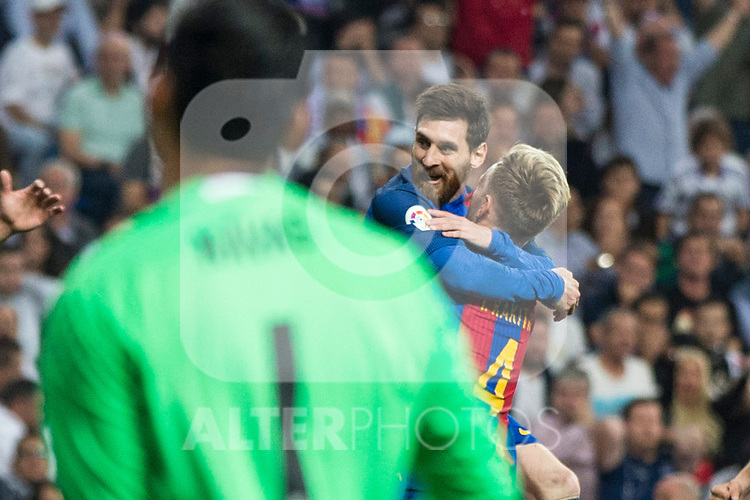 Ivan Rakitic and Leo Messi  of FC Barcelona celebrates after scoring a goal during the match of La Liga between Real Madrid and Futbol Club Barcelona at Santiago Bernabeu Stadium  in Madrid, Spain. April 23, 2017. (ALTERPHOTOS)