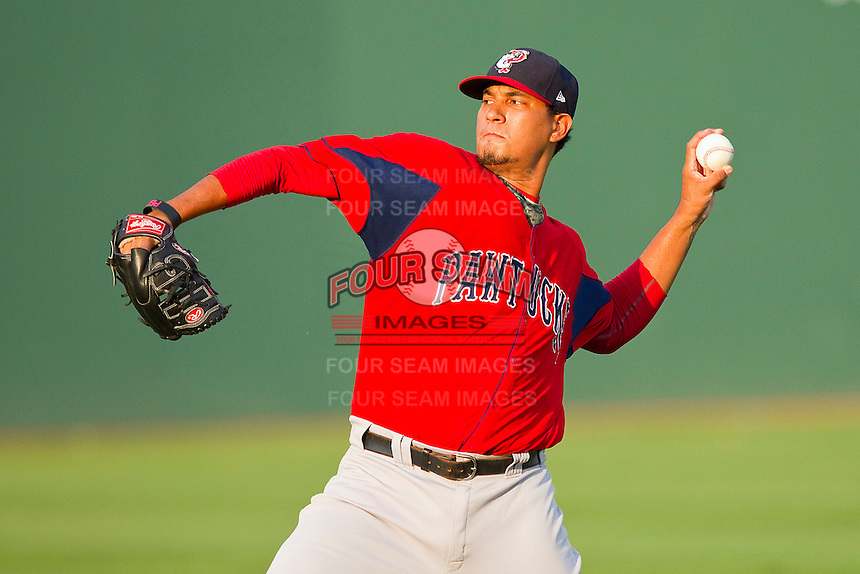 Starting pitcher Felix Doubront #44 of the Pawtucket Red Sox warms up in the outfield prior to the game against the Charlotte Knights at Knights Stadium on August 11, 2011 in Fort Mill, South Carolina.  The Red Sox defeated the Knights 3-2.   (Brian Westerholt / Four Seam Images)