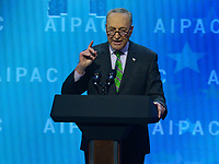 Washington, DC - March 5, 2018: U.S. Rep. Charles Schumer addresses attendees of the 2018 American Israel Public Affairs Committee (AIPAC) Policy Conference at the Washington Convention Center March 5, 2018.  (Photo by Don Baxter/Media Images International)