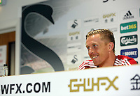 Thursday, 03 April 2014<br /> Pictured: Head coach Garry Monk.<br /> Re: Swansea City FC press conference at the Liberty Stadium, ahead of their game against Hull.