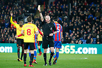 Tom Cleverley of Watford receives his second yellow card during the EPL - Premier League match between Crystal Palace and Watford at Selhurst Park, London, England on 12 December 2017. Photo by Carlton Myrie / PRiME Media Images.