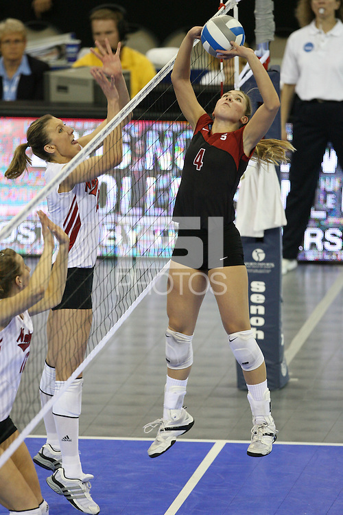 16 December 2006: Stanford Cardinal Bryn Kehoe during Stanford's 30-27, 26-30, 28-30, 27-30 loss against the Nebraska Huskers in the 2006 NCAA Division I Women's Volleyball Final Four Championship match at the Qwest Center in Omaha, NE.