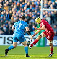 12th January 2020; RDS Arena, Dublin, Leinster, Ireland; Heineken Champions Champions Cup Rugby, Leinster versus Lyon Olympique Universitaire; Virgile Bruni (Lyon) attempts to chip the ball forward - Editorial Use