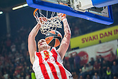 9th February 2018, Aleksandar Nikolic Hall, Belgrade, Serbia; Euroleague Basketball, Crvenz Zvezda mts Belgrade versus AX Armani Exchange Olimpia Milan; Center Alan Omic of Crvena Zvezda mts Belgrade dunks the basket