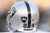 December 18, 2011 Oakland, CA: Oakland Raiders wide receiver T.J. Houshmandzadeh #84 helmet with Al Davis Tribute sticker during an NFL game played between the Oakland Raiders and the Detroit Lions at O.co Coliseum. The Lions defeated the Raiders 28-27.