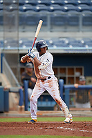 Charlotte Stone Crabs Jermaine Palacios (3) bats during a Florida State League game against the Bradenton Maruaders on August 7, 2019 at Charlotte Sports Park in Port Charlotte, Florida.  Charlotte defeated Bradenton 3-2 in the second game of a doubleheader.  (Mike Janes/Four Seam Images)