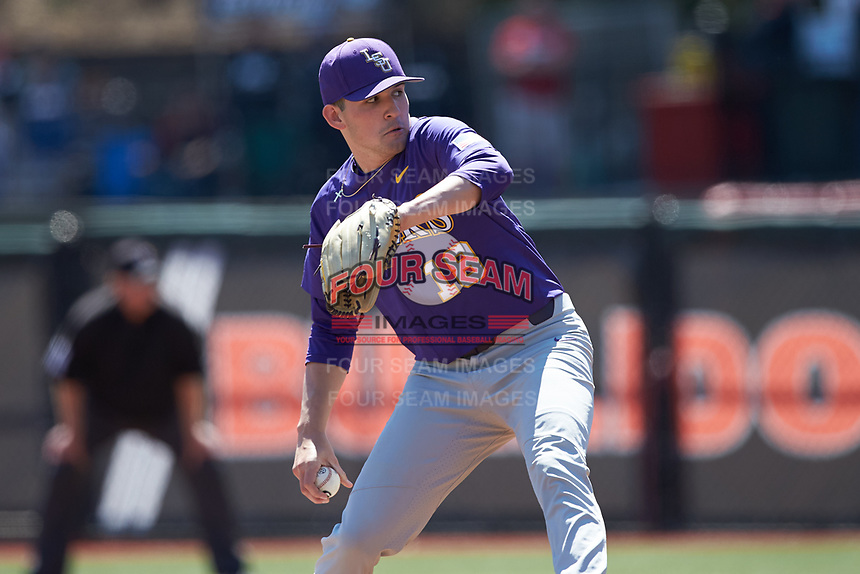 LSU Tigers starting pitcher Cole Henry (18) in action against the Georgia Bulldogs at Foley Field on March 23, 2019 in Athens, Georgia. The Bulldogs defeated the Tigers 2-0. (Brian Westerholt/Four Seam Images)