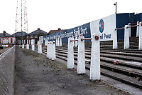 Terracing at Doncaster Rovers FC Football Ground, Belle Vue Stadium, Doncaster, South Yorkshire, pictured on 14th July 1991