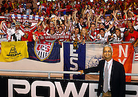 SAN JOSE, COSTA RICA - September 06, 2013: Sunil Galati head of USA Soccer greets fans of the USA MNT during a 2014 World Cup qualifying match against Costa Rica at the National Stadium in San Jose on September 6. USA lost 3-1.