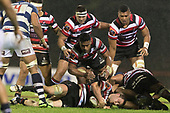 Steelers Sean Bagshaw, Fotu Lokotui and Viliami Taulani arrive to form a ruck as Ronald Raaymakers goes to ground. Mitre 10 Cup rugby game between Counties Manukau Steelers and Auckland played at ECOLight Stadium, Pukekohe on Saturday August 19th 2017. Counties Manukau Stelers won the game 16 - 14 and retain the Dan Bryant Memorial trophy.<br /> Photo by Richard Spranger.