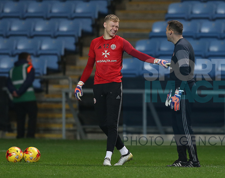 Aaron Ramsdale of Sheffield Utd and goalkeeping coach Darren Ward during the English League One match at the Rioch Arena Stadium, Coventry. Picture date: December 15th, 2016. Pic Simon Bellis/Sportimage