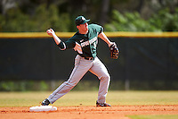 Michigan State Spartans second baseman Jordan Zimmerman (5) throws to first during a game against the Illinois State Redbirds on March 8, 2016 at North Charlotte Regional Park in Port Charlotte, Florida.  Michigan State defeated Illinois State 15-0.  (Mike Janes/Four Seam Images)