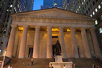 Federal hall and George Washington statue on Wall Street, New York